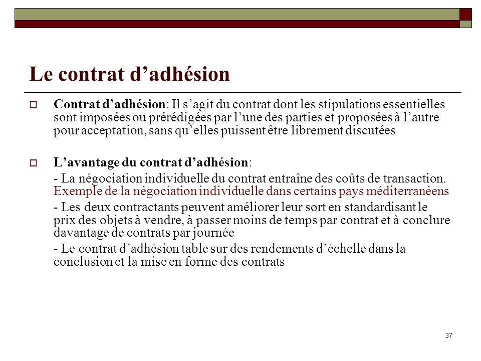 Le contrat d'adhésion