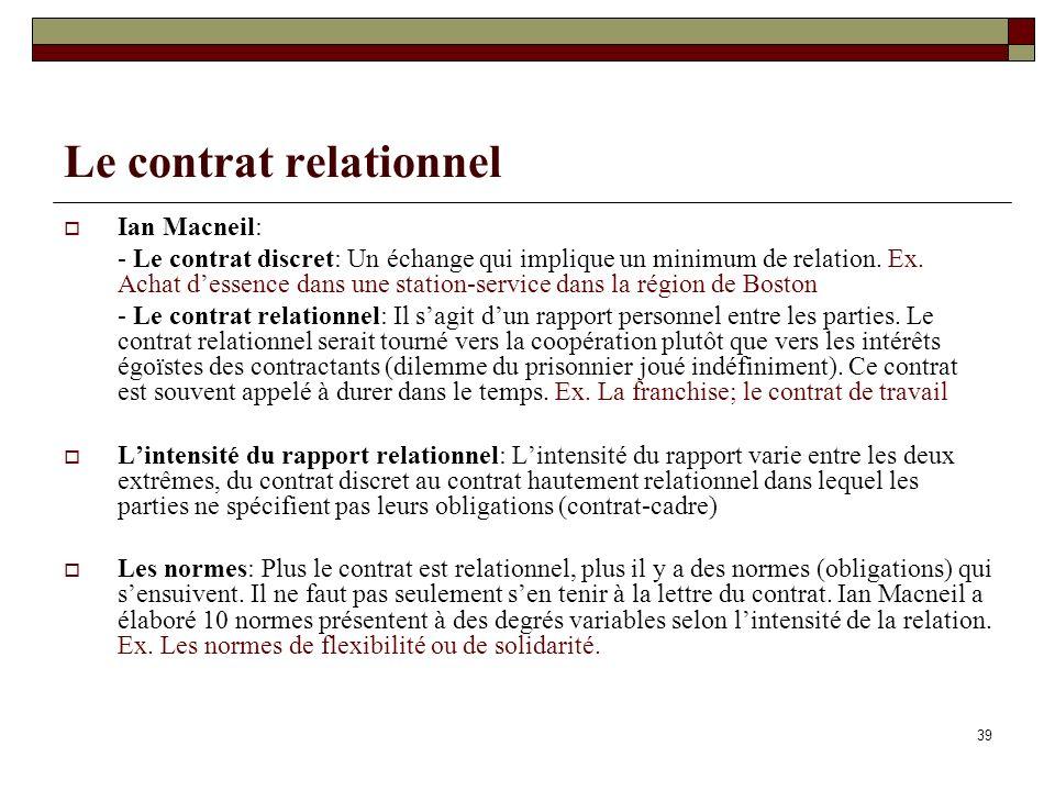 Le contrat relationnel