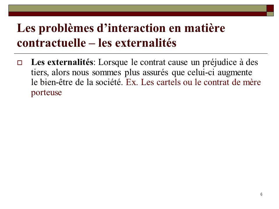 Les problèmes d'interaction en matière contractuelle – les externalités