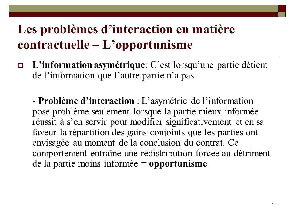 Les problèmes d'interaction en matière contractuelle – L'opportunisme