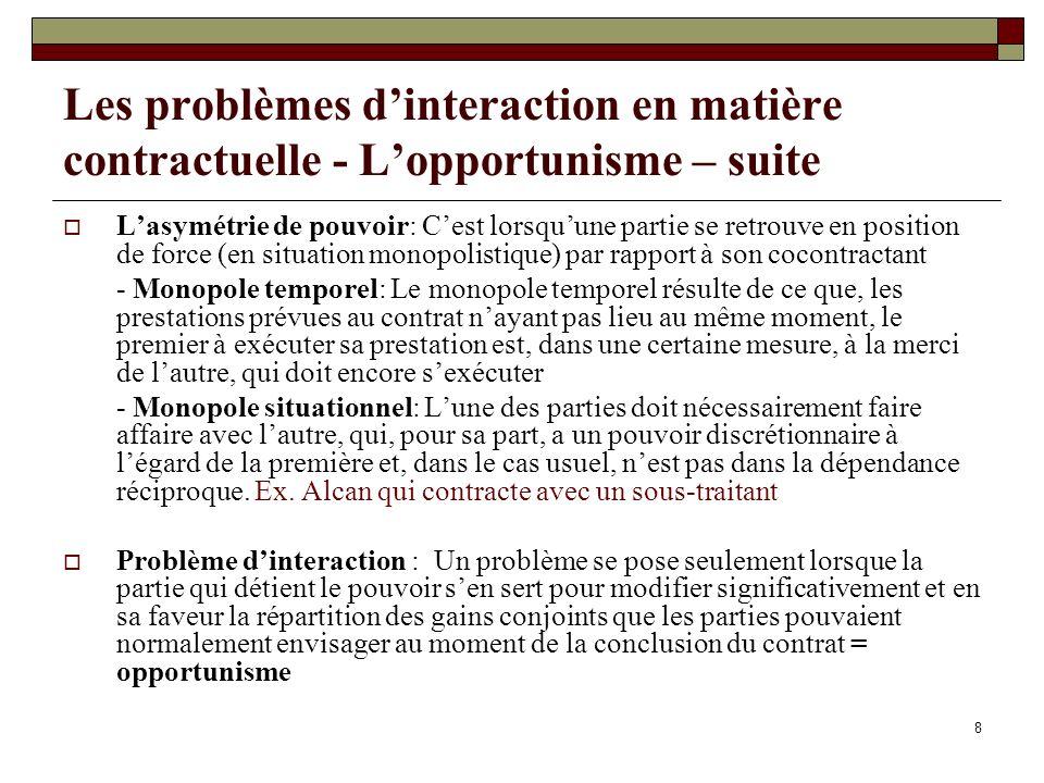 Les problèmes d'interaction en matière contractuelle - L'opportunisme – suite