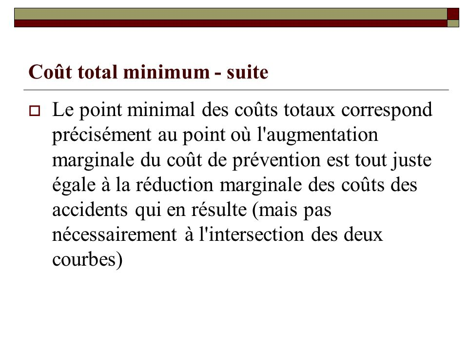 Coût total minimum - suite