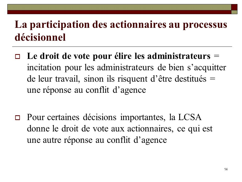 La participation des actionnaires au processus décisionnel