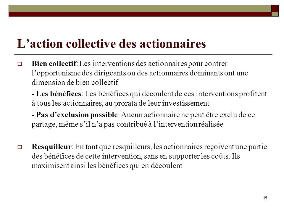 L'action collective des actionnaires