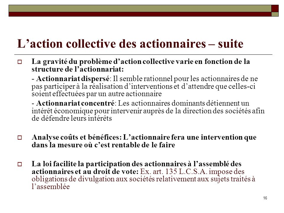 L'action collective des actionnaires – suite