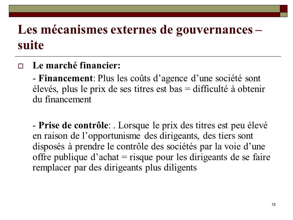 Les mécanismes externes de gouvernances – suite