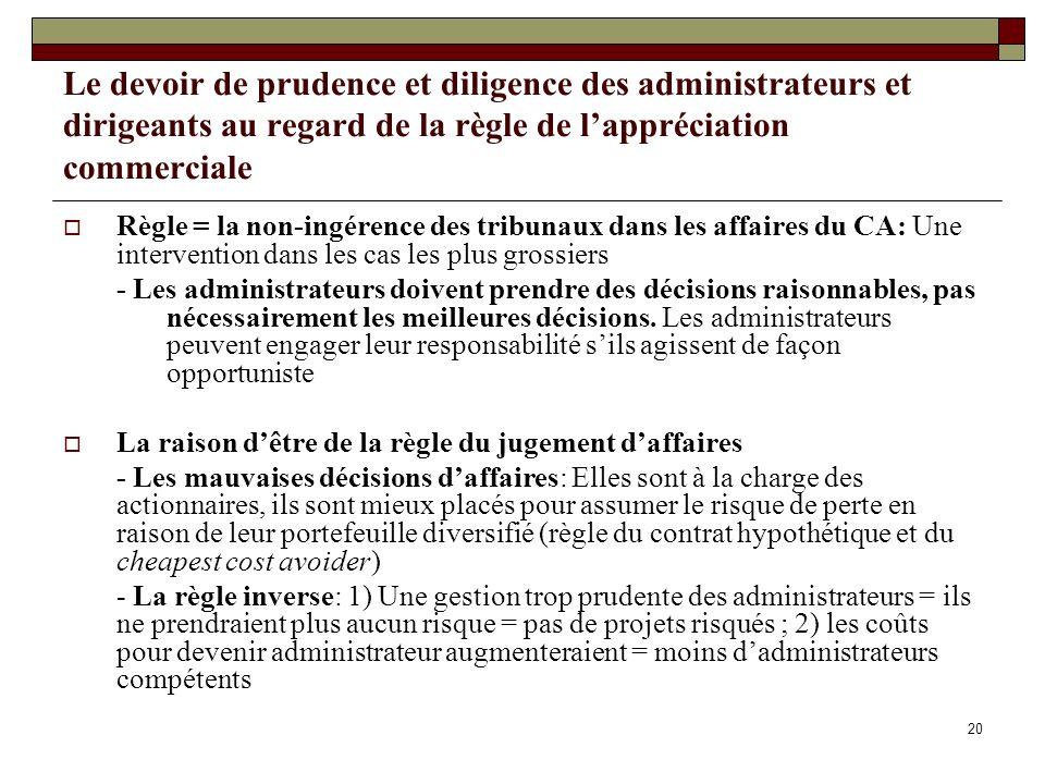 Le devoir de prudence et diligence des administrateurs et dirigeants au regard de la règle de l'appréciation commerciale