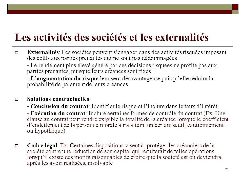 Les activités des sociétés et les externalités