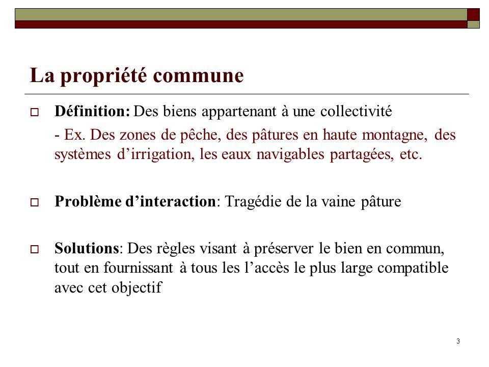 La propriété commune Définition: Des biens appartenant à une collectivité.