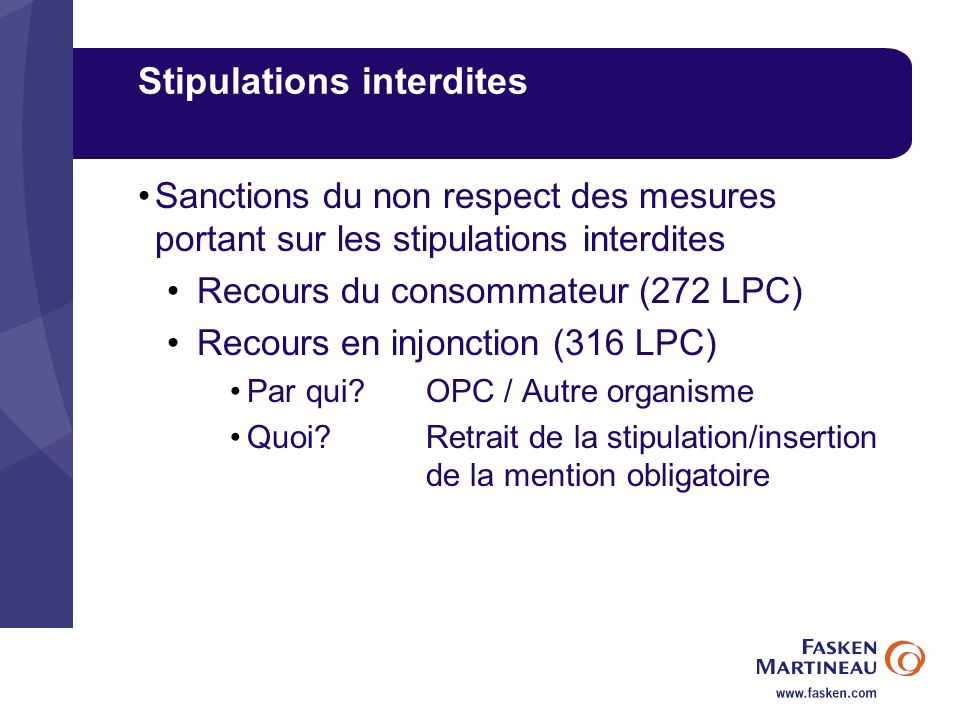 Stipulations interdites
