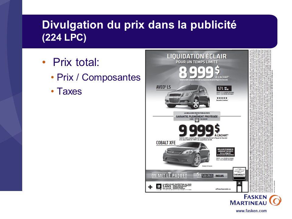Divulgation du prix dans la publicité (224 LPC)