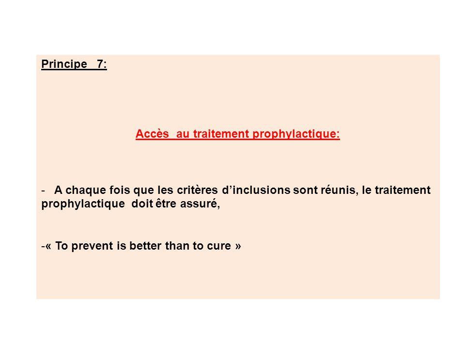 Accès au traitement prophylactique: