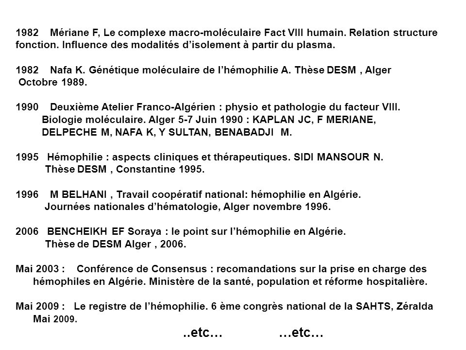 1982 Mériane F, Le complexe macro-moléculaire Fact VIII humain