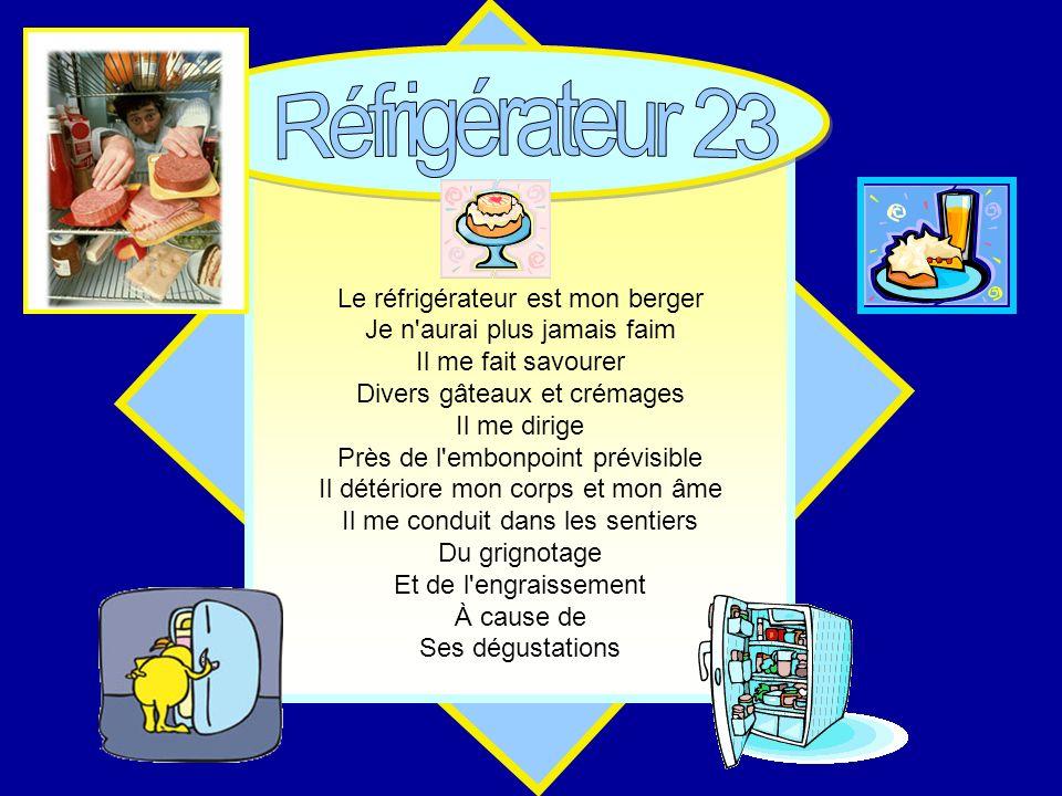 Réfrigérateur 23 Le réfrigérateur est mon berger
