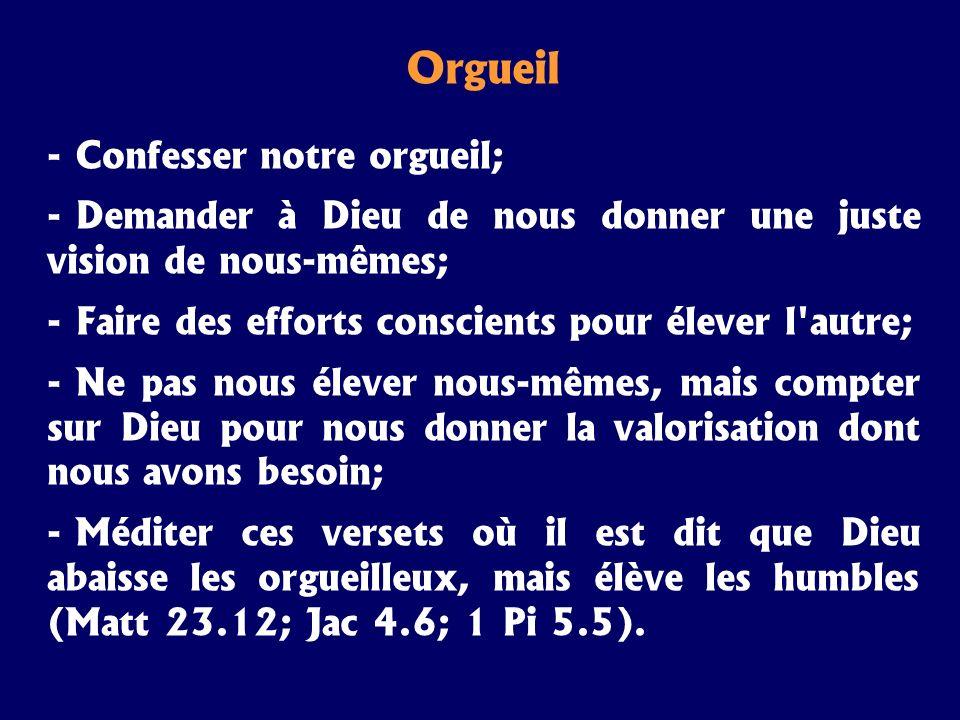Orgueil Confesser notre orgueil;