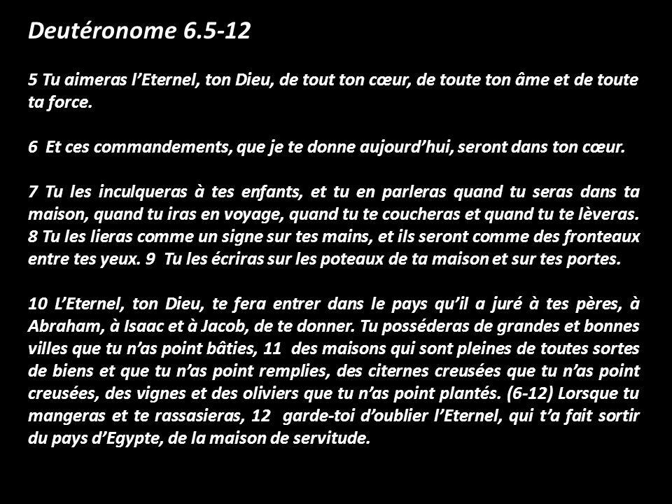 Deutéronome 6.5-12 5 Tu aimeras l'Eternel, ton Dieu, de tout ton cœur, de toute ton âme et de toute ta force.