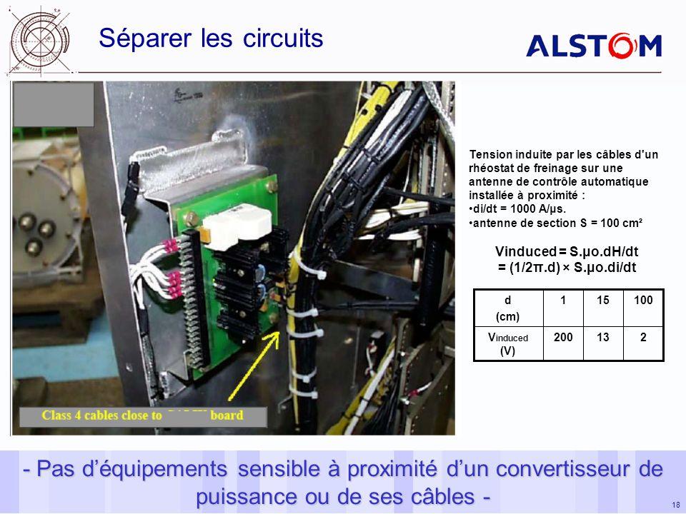 Séparer les circuits Tension induite par les câbles d un rhéostat de freinage sur une antenne de contrôle automatique installée à proximité :