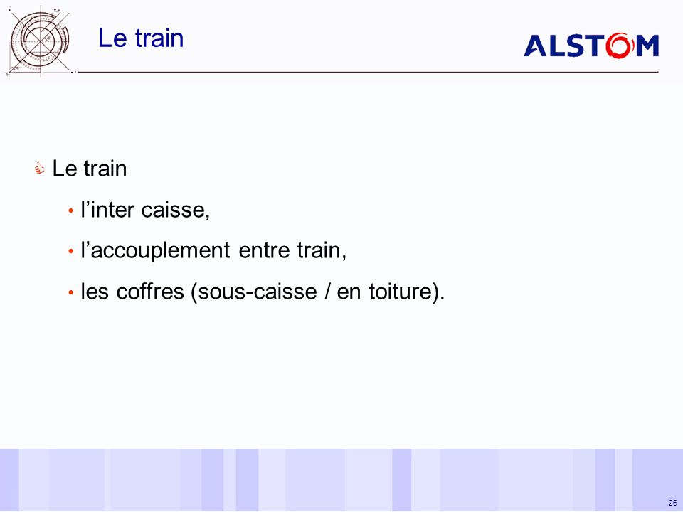 Le train Le train l'inter caisse, l'accouplement entre train,