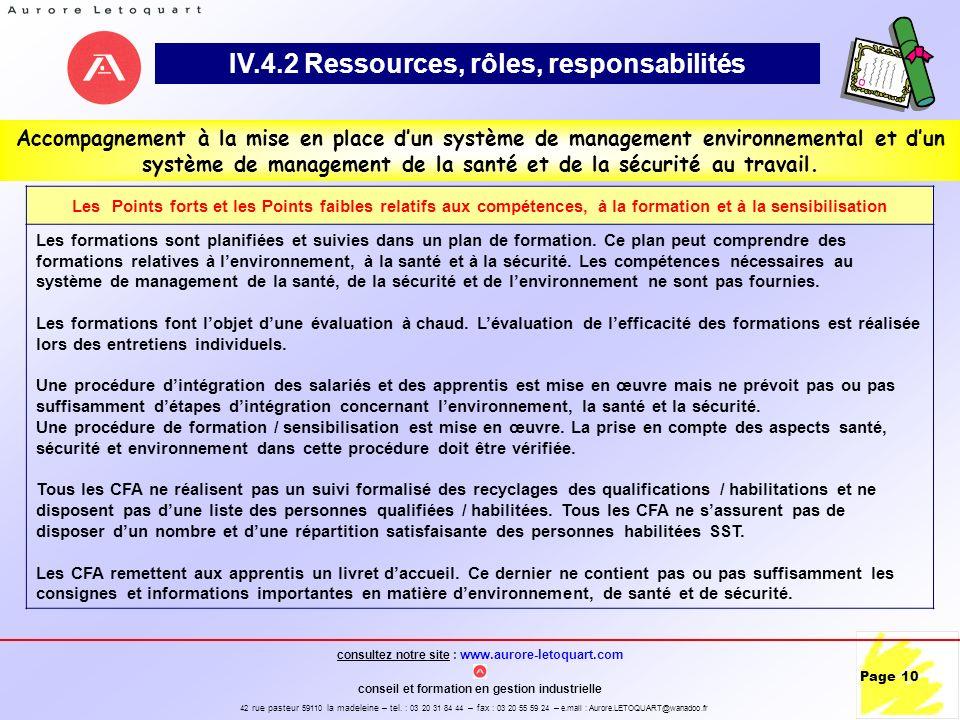 IV.4.2 Ressources, rôles, responsabilités