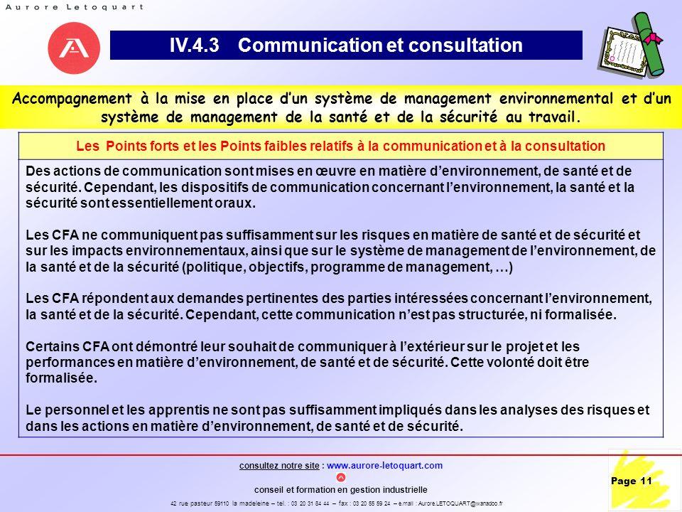 IV.4.3 Communication et consultation