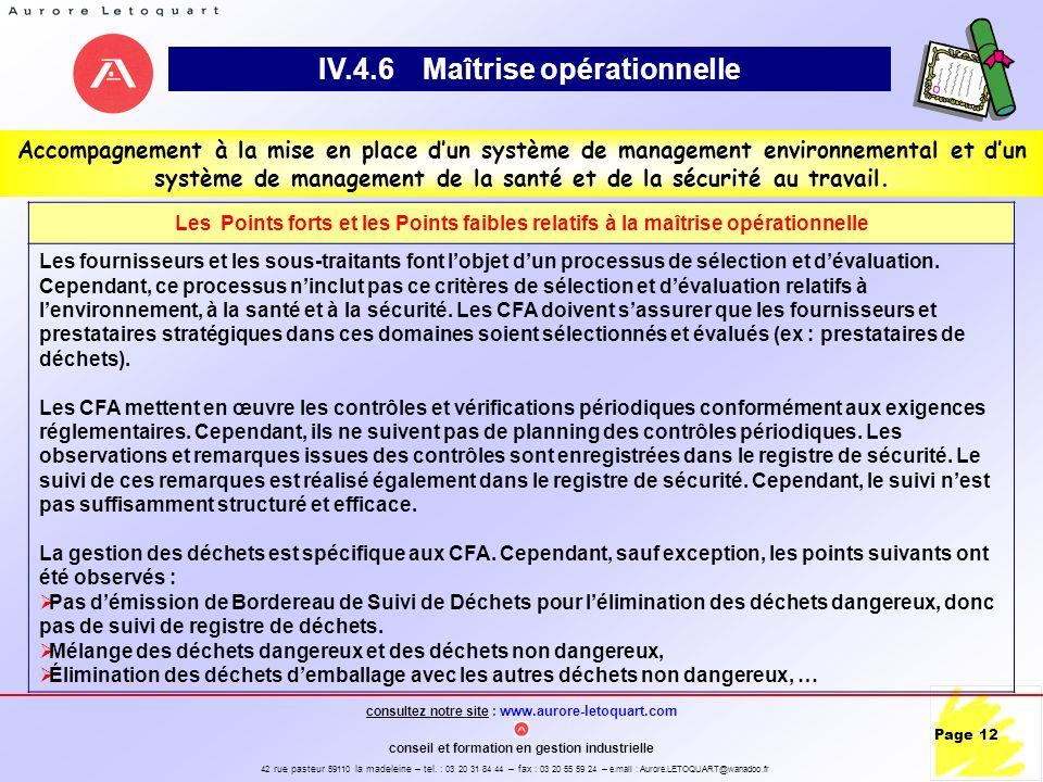 IV.4.6 Maîtrise opérationnelle