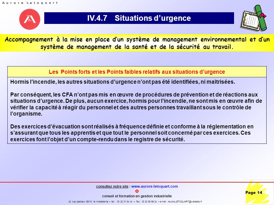 IV.4.7 Situations d'urgence