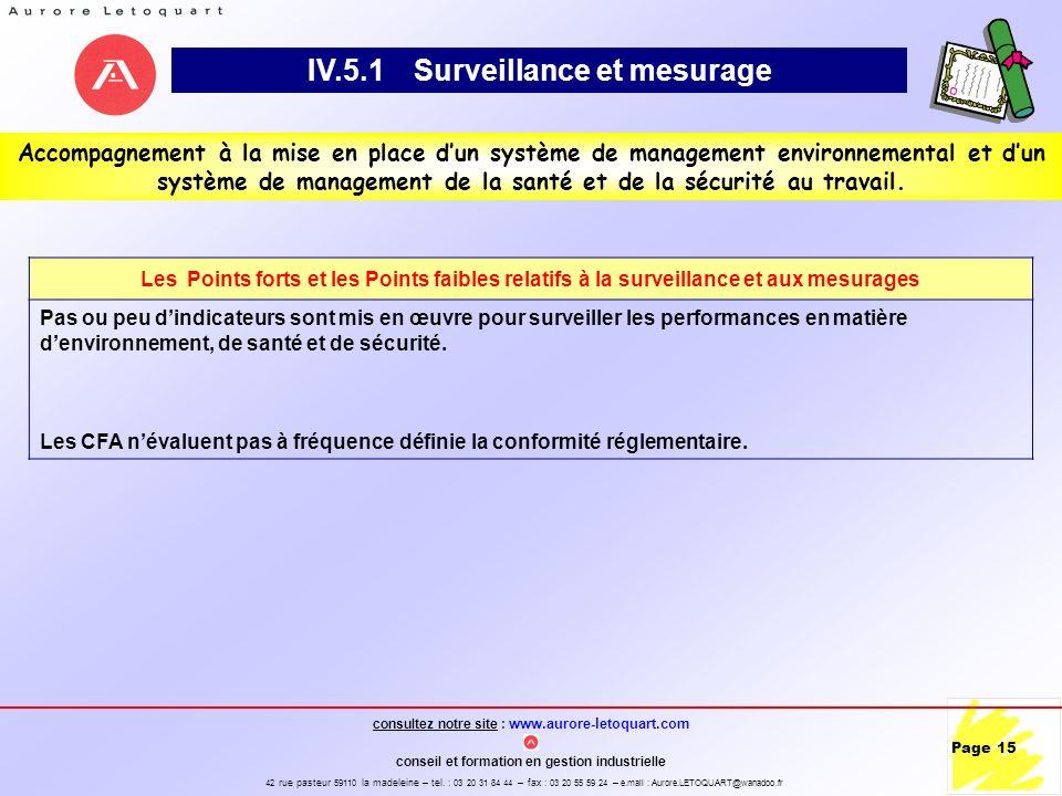 IV.5.1 Surveillance et mesurage