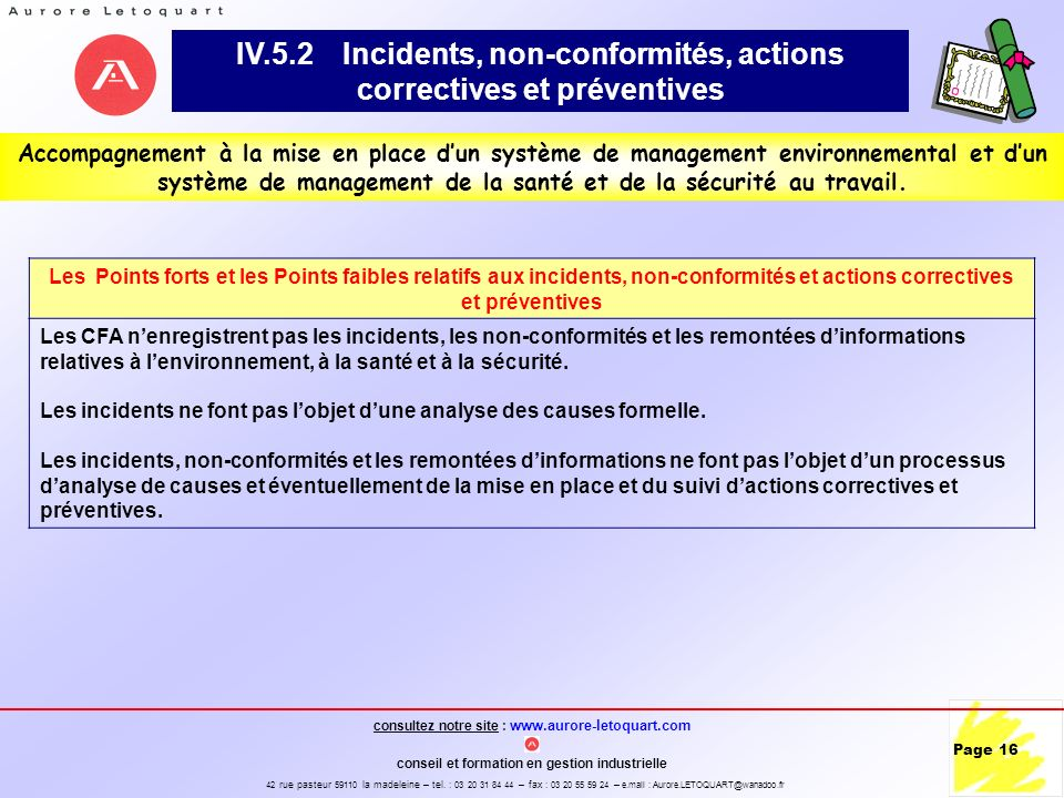 IV.5.2 Incidents, non-conformités, actions correctives et préventives