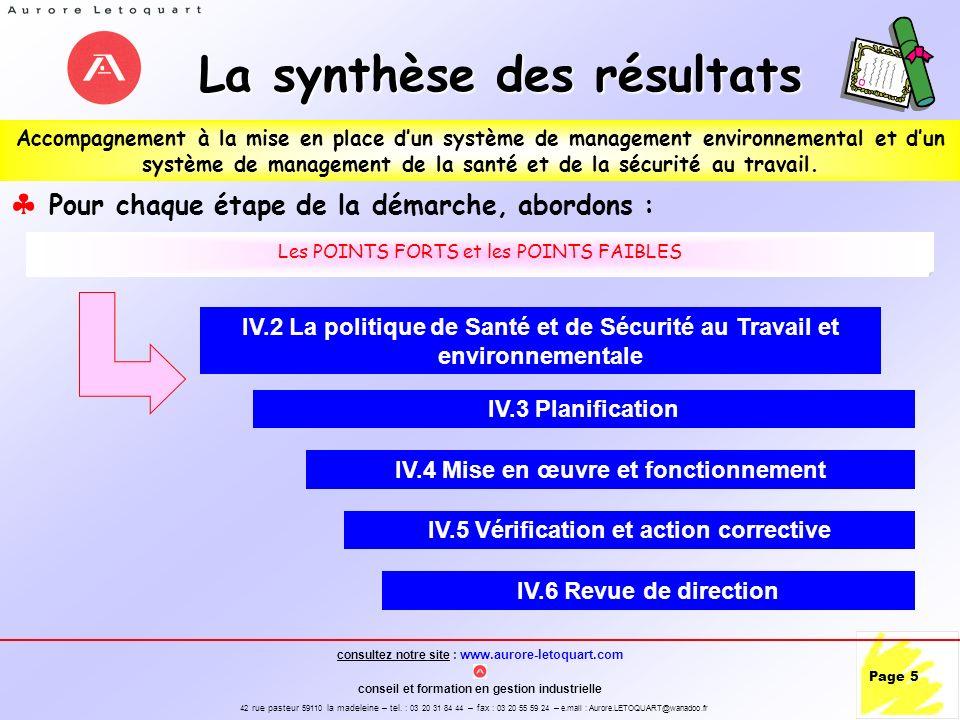 La synthèse des résultats
