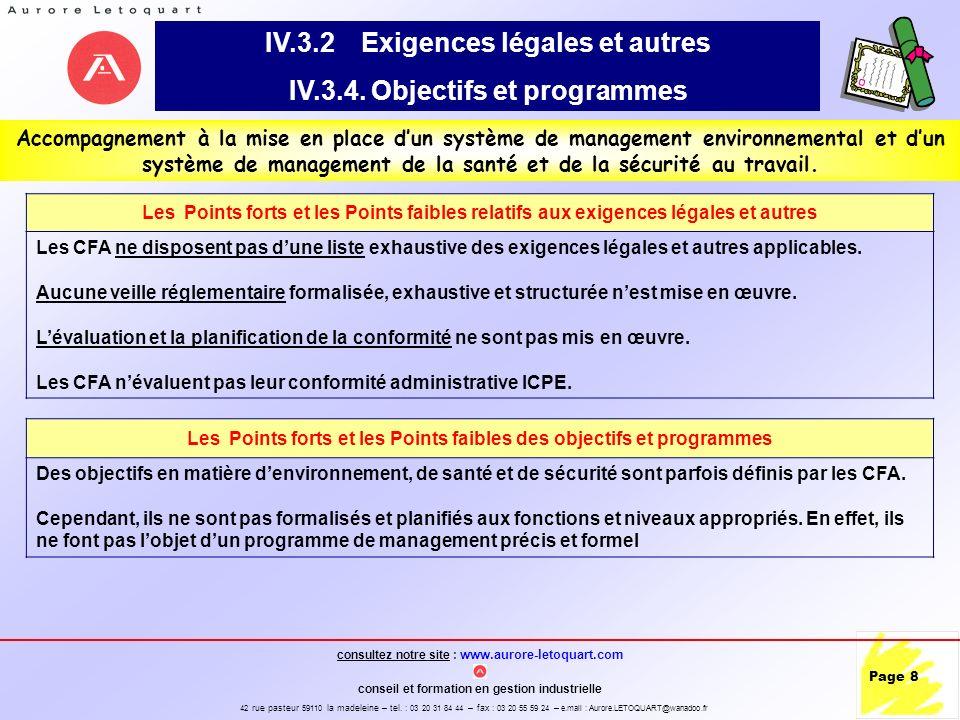 IV.3.2 Exigences légales et autres IV.3.4. Objectifs et programmes