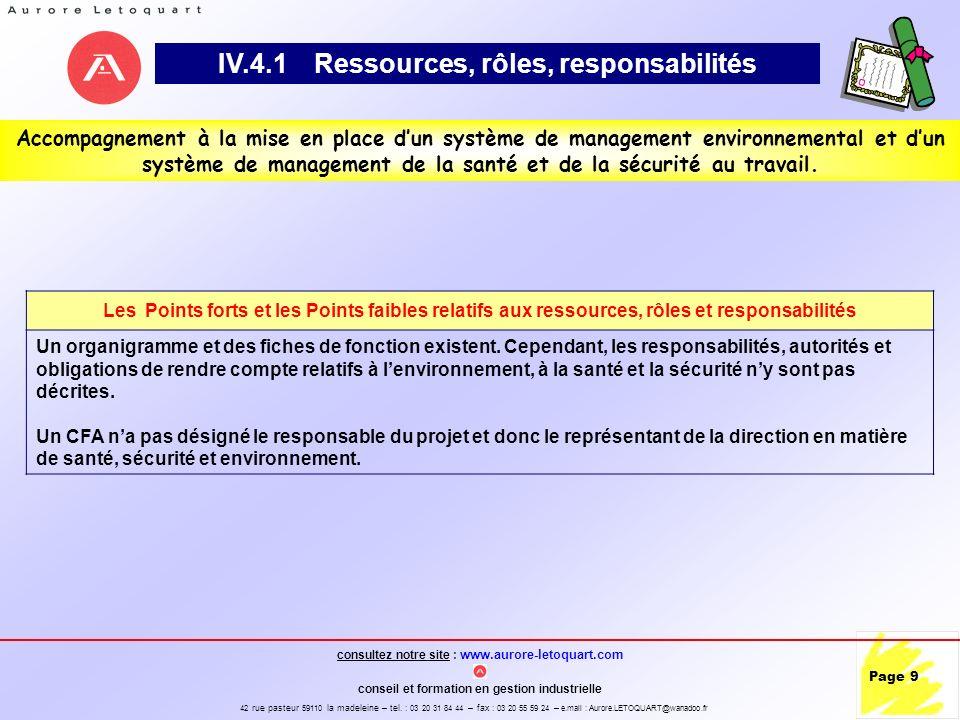 IV.4.1 Ressources, rôles, responsabilités