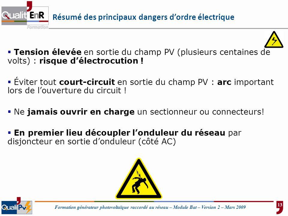 Résumé des principaux dangers d'ordre électrique