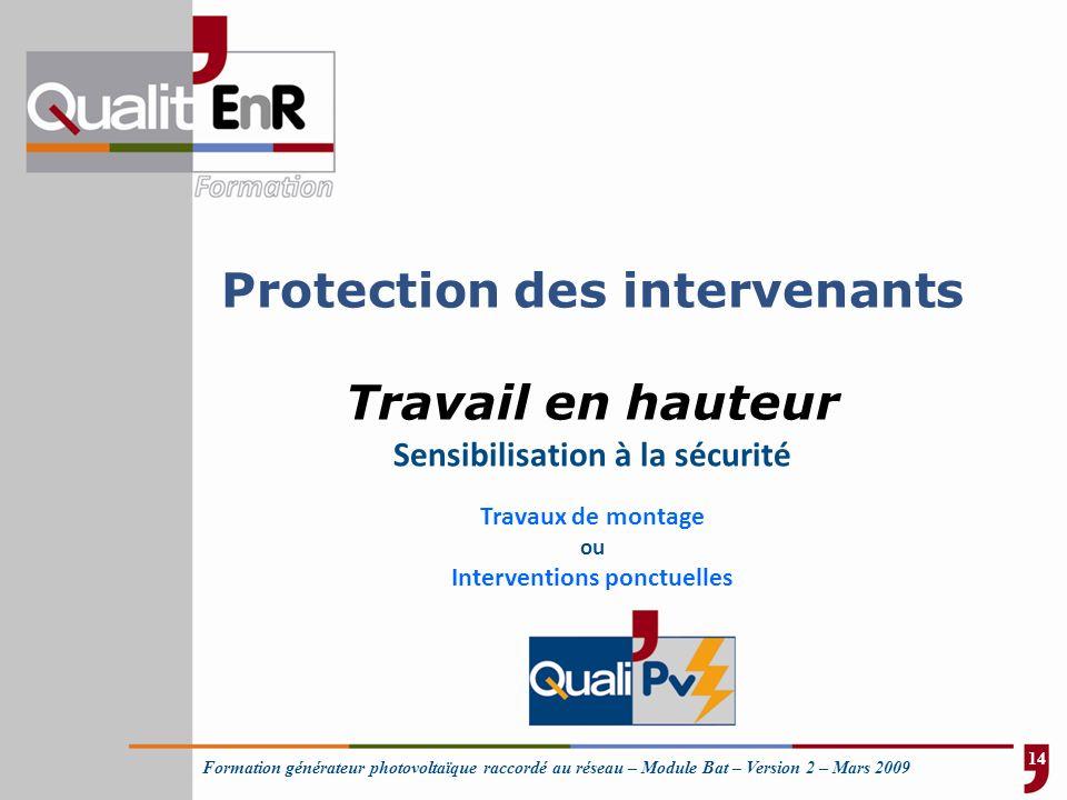 Protection des intervenants Travail en hauteur