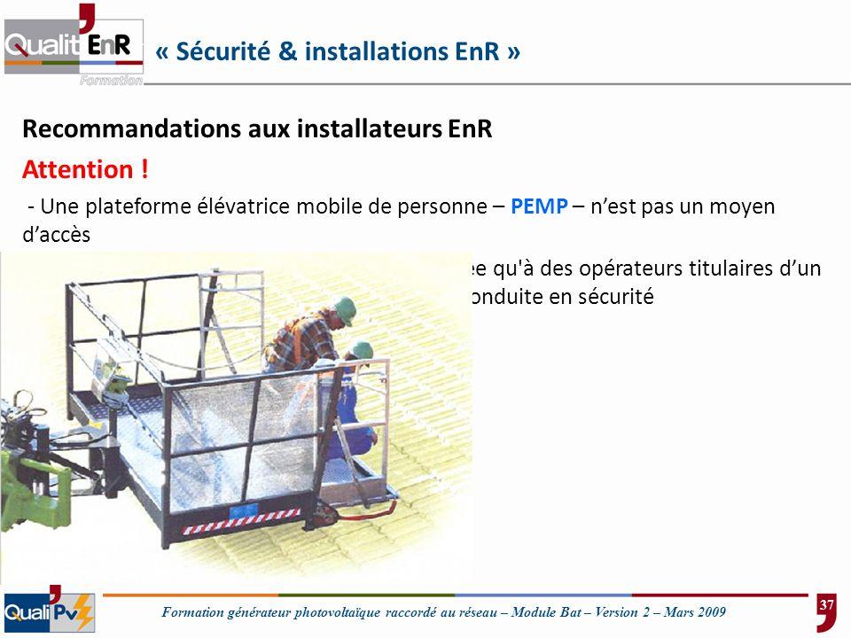 « Sécurité & installations EnR »