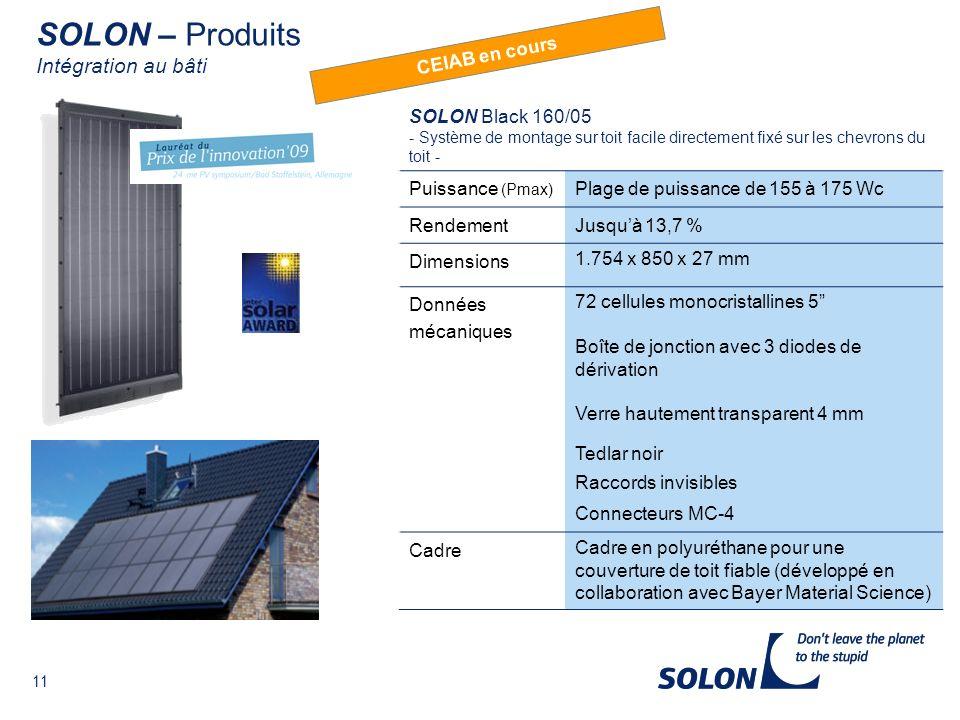 SOLON – Produits Intégration au bâti