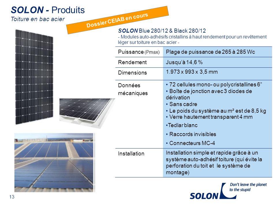 SOLON - Produits Toiture en bac acier