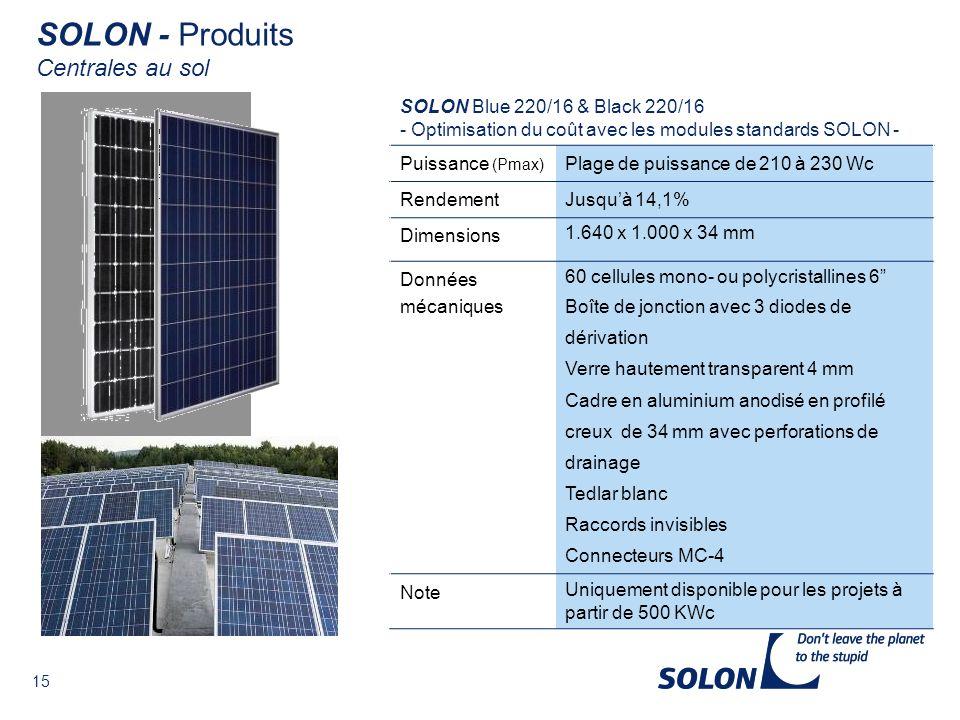 SOLON - Produits Centrales au sol