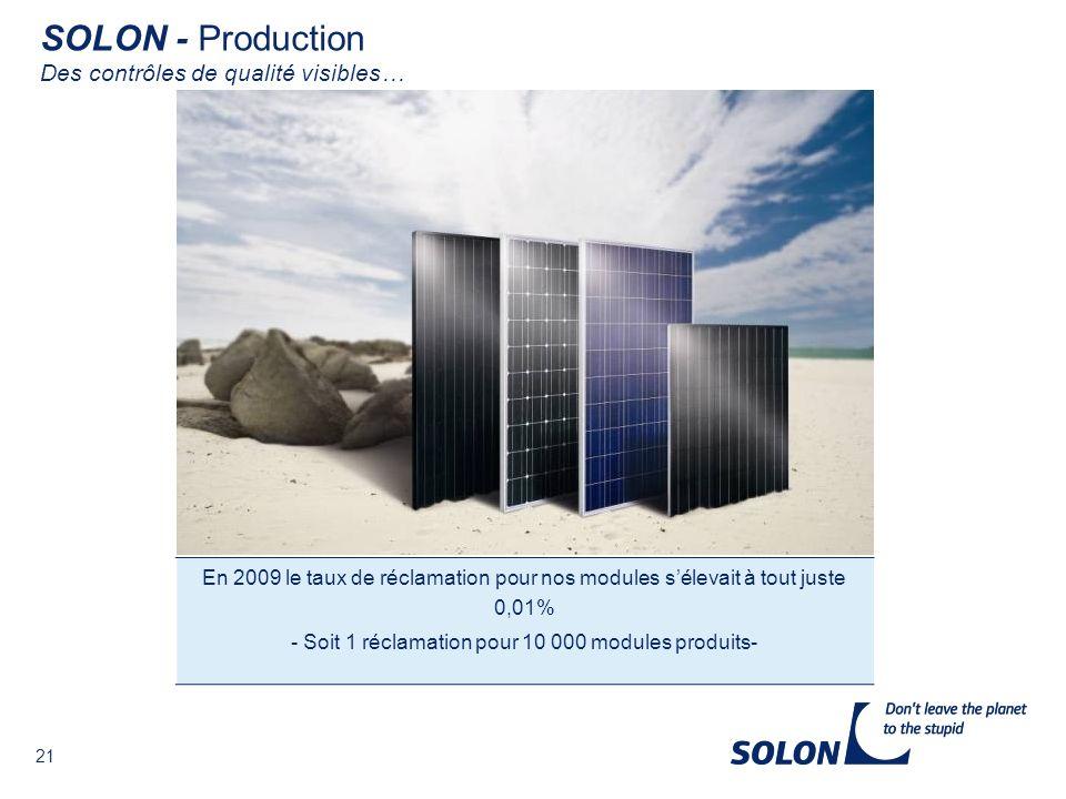 - Soit 1 réclamation pour 10 000 modules produits-