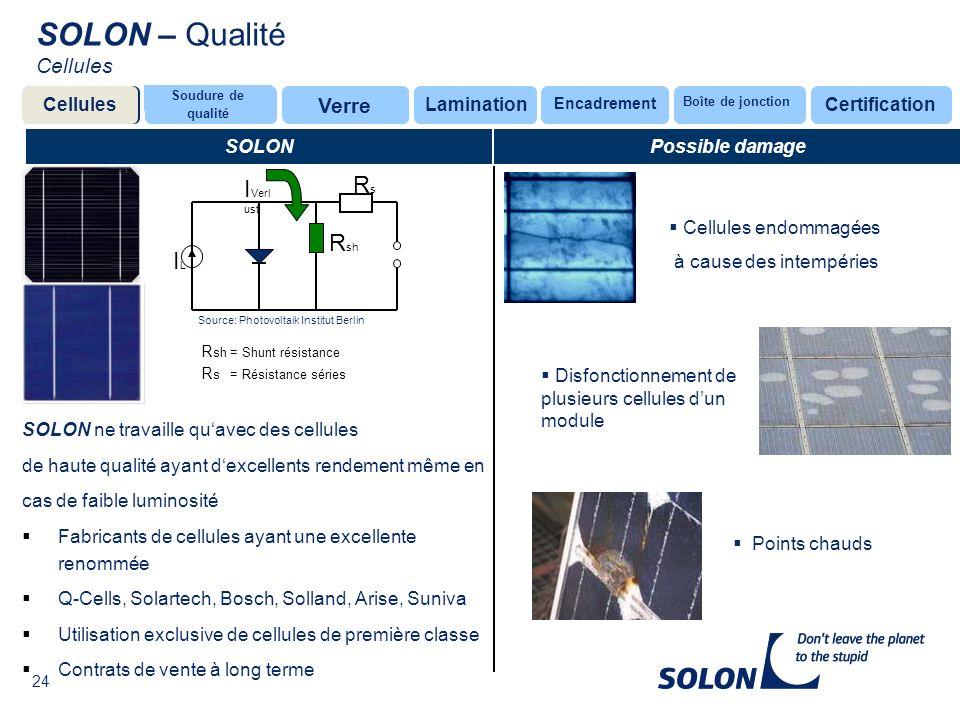 SOLON – Qualité Cellules