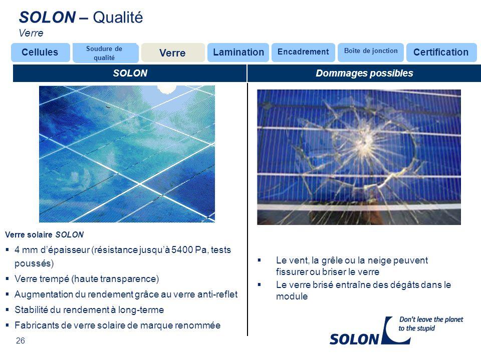 SOLON – Qualité Verre Verre Cellules Lamination Certification SOLON