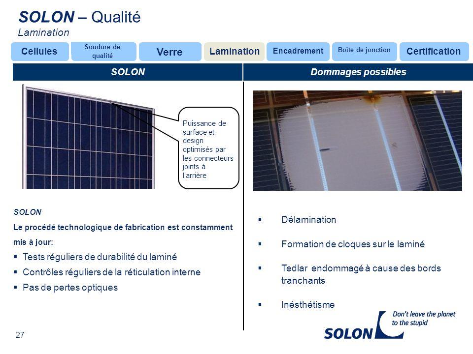 SOLON – Qualité Lamination Verre Cellules Lamination Certification