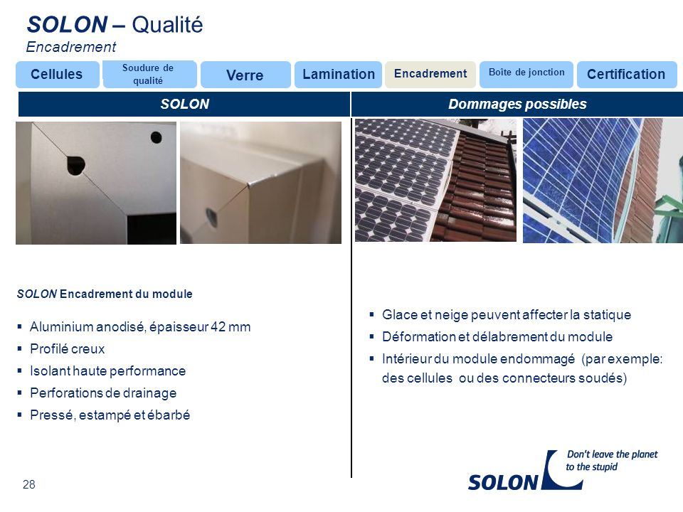 SOLON – Qualité Encadrement Verre Cellules Lamination Certification