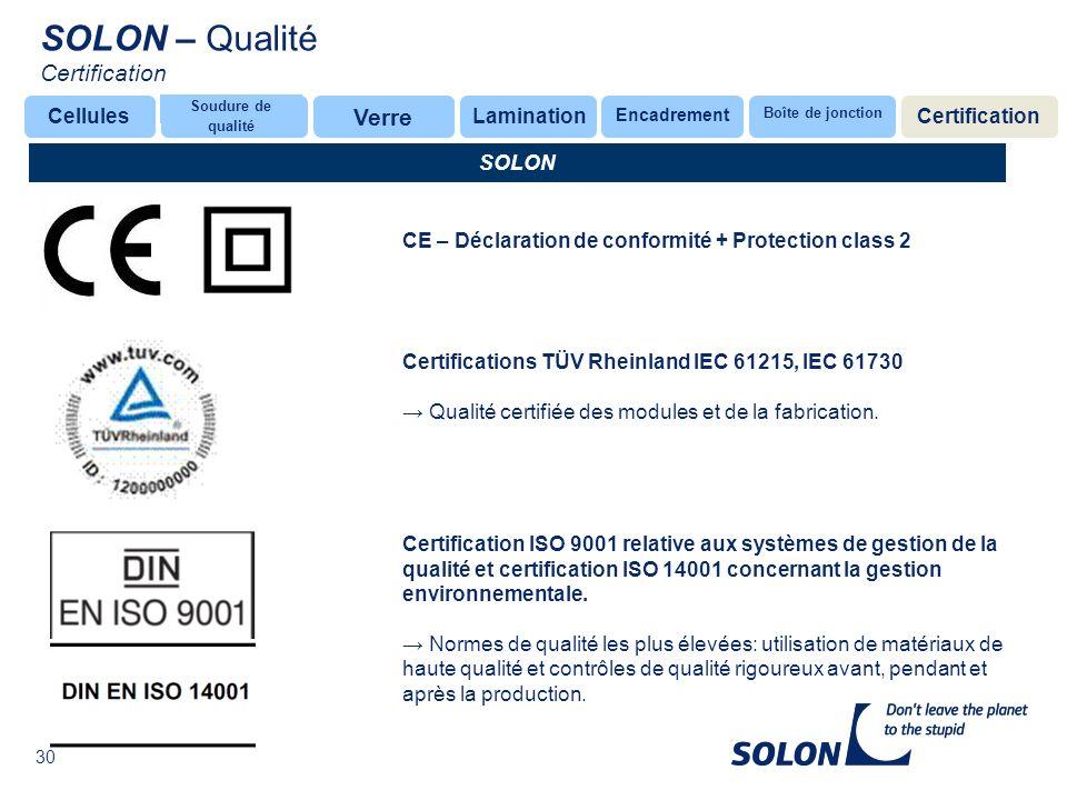 SOLON – Qualité Certification Verre Cellules Lamination Certification