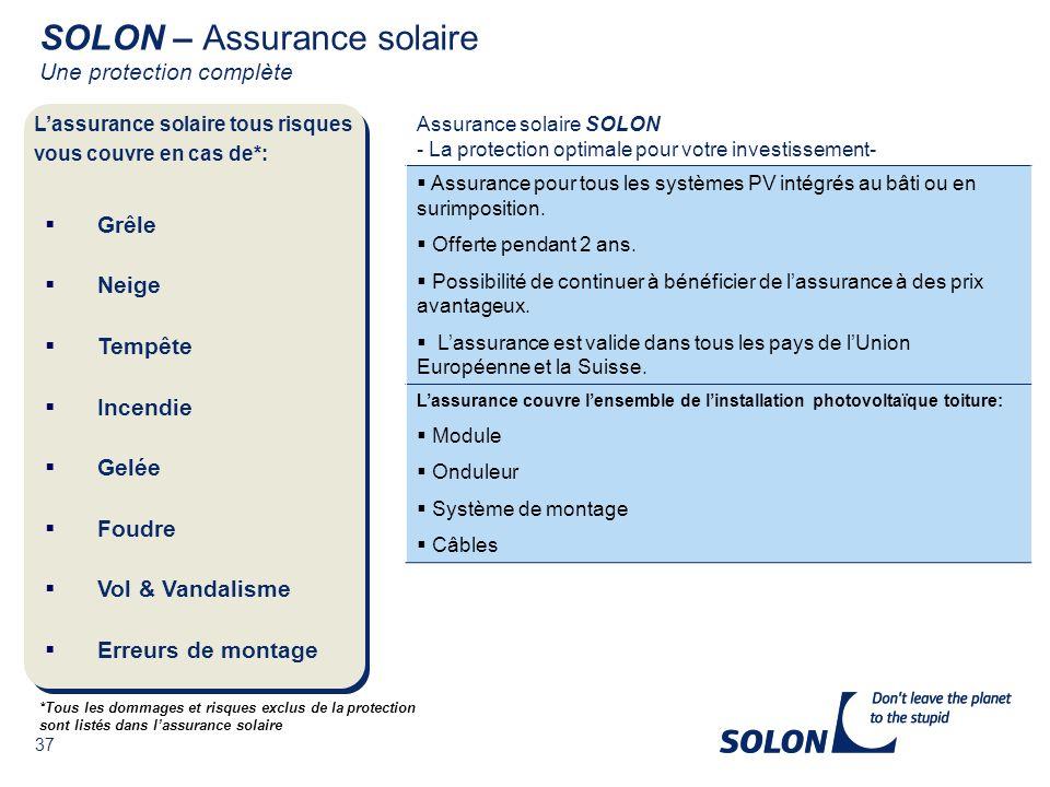 SOLON – Assurance solaire Une protection complète
