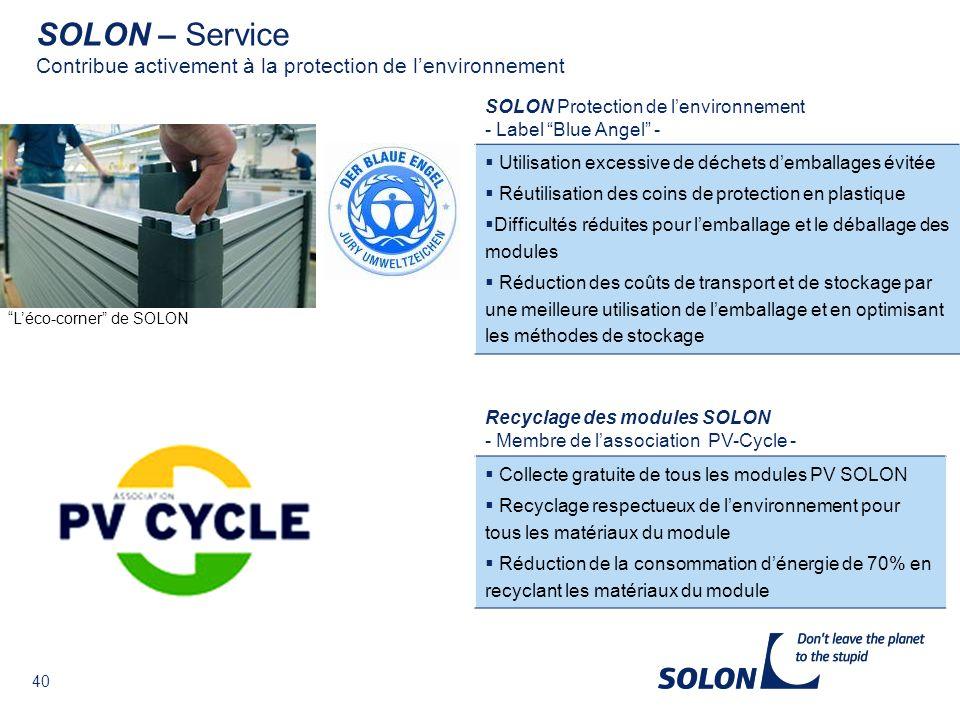 SOLON – Service Contribue activement à la protection de l'environnement