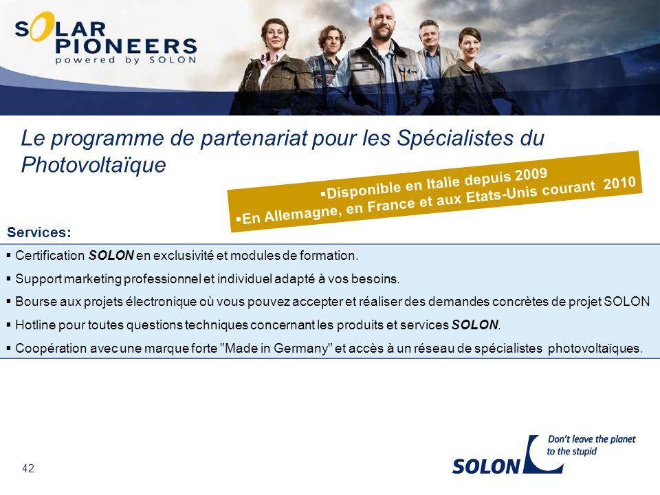 Le programme de partenariat pour les Spécialistes du Photovoltaïque