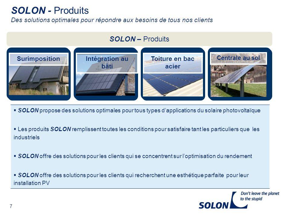 SOLON - Produits Des solutions optimales pour répondre aux besoins de tous nos clients