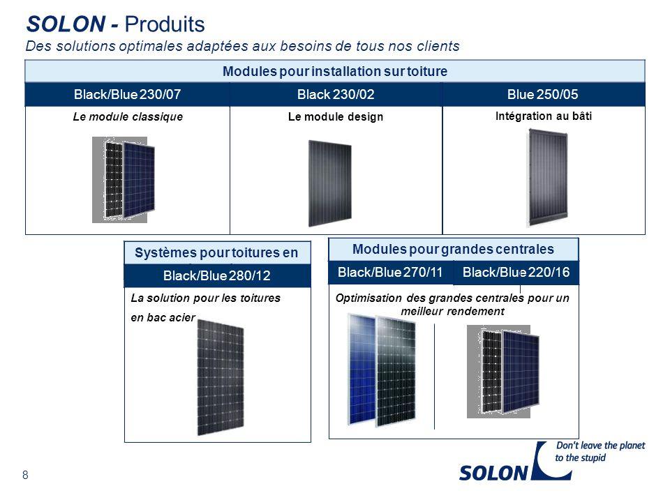 SOLON - Produits Des solutions optimales adaptées aux besoins de tous nos clients