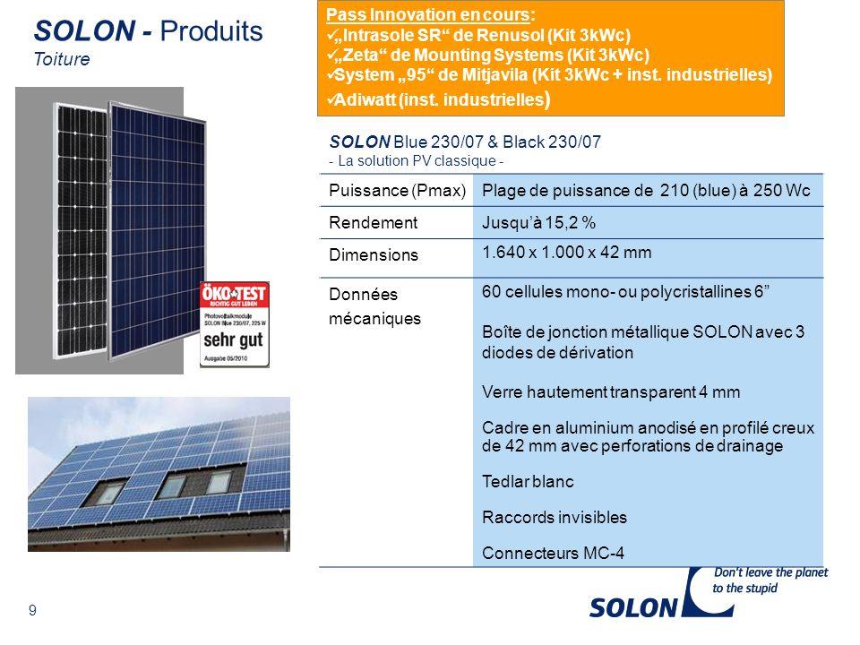 SOLON - Produits Toiture