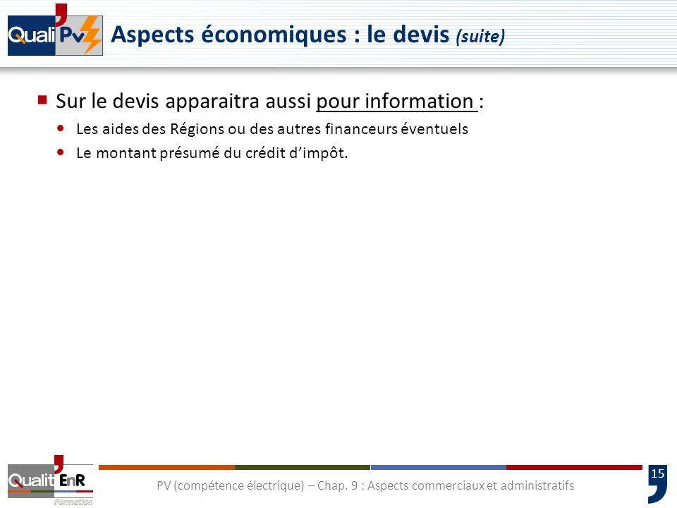 Aspects économiques : le devis (suite)